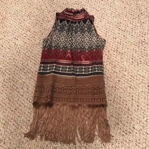 Ryu Anthropologie fringe sleeveless boho shirt